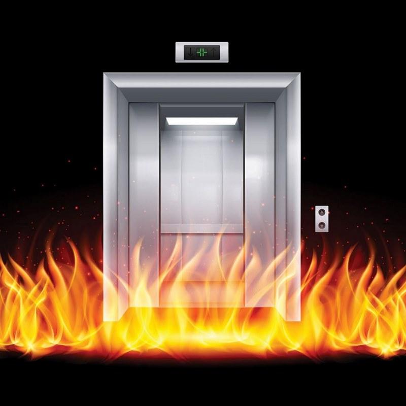 آتش سوزی در آسانسور,برق اضطراری آسانسور,آتش سوزی در آسانسور
